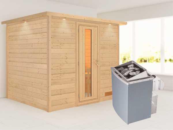 Sauna Massivholzsauna Karla mit Dachkranz, Energiespartür + 9 kW Saunaofen mit Steuerung