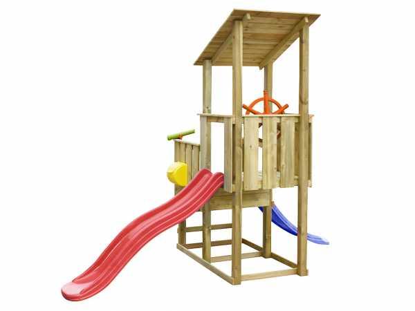 Spielturm SPARSET Playcenter Pirate KDI inkl. 2 Rutschen rot und blau + Zubehör