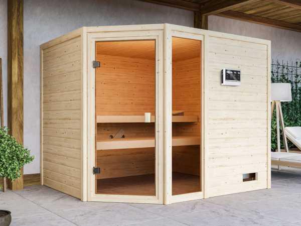 Sauna Lola mit bronzierter Glastür + 9 kW Bio-Kombiofen ext. Strg.