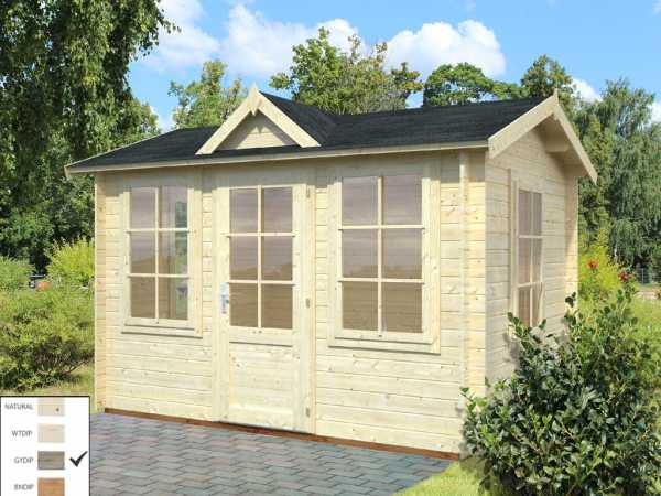 Gartenhaus Blockbohlenhaus Claudia 7,4 m² 28 mm grau tauchimprägniert