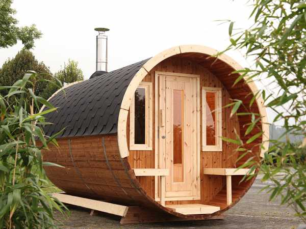 Saunafass 280 de luxe 42 mm Thermoholz, als Bausatz, inkl. Dachschindeln schwarz