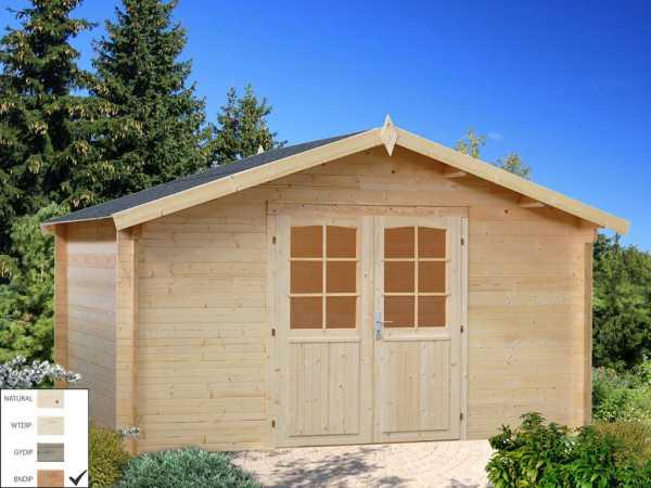 Gartenhaus Blockbohlenhaus Lotta 13,9 m² 34 mm braun tauchimprägniert