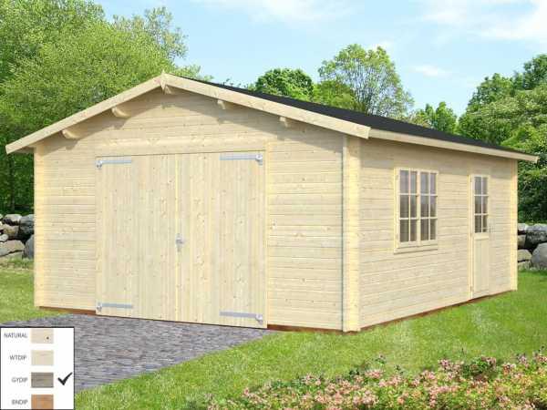 Garage Roger 23,9 m² mit Holztor 44 mm grau tauchimprägniert