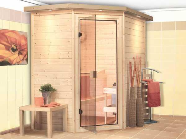 Sauna Massivholzsauna Svea mit Dachkranz, bronzierte Ganzglastür