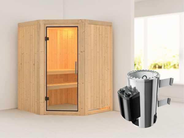 Sauna Systemsauna Nanja Klarglas Ganzglastür + Plug & Play Saunaofen mit Steuerung