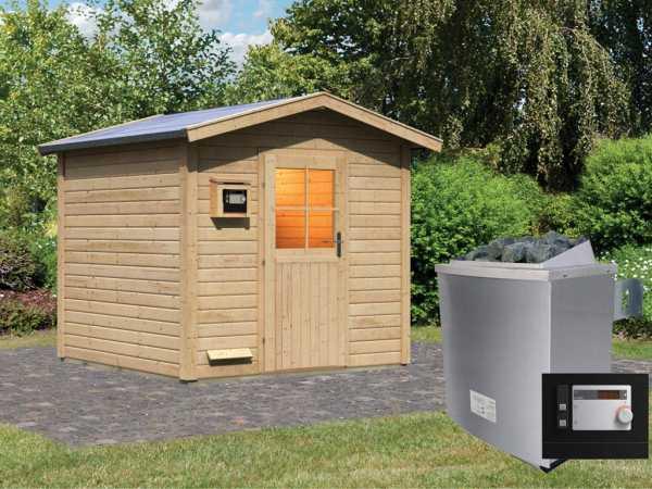 """Saunahaus """"Birka 2"""" mit Holztür, inkl. 9 kW Saunaofen mit externer Steuerung"""