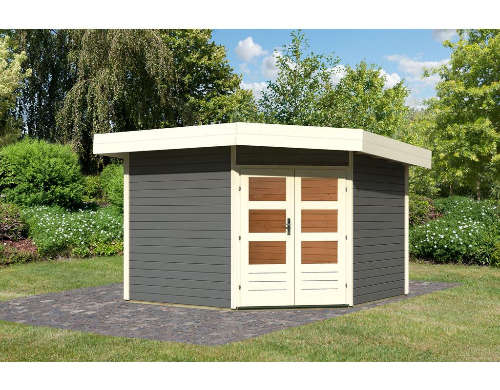 gartenhaus corner cube 2 classic 28 mm terragrau ka2216. Black Bedroom Furniture Sets. Home Design Ideas