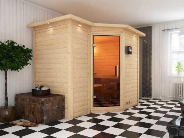 Sauna Massivholzsauna Premiumsauna Betty Klarglastür