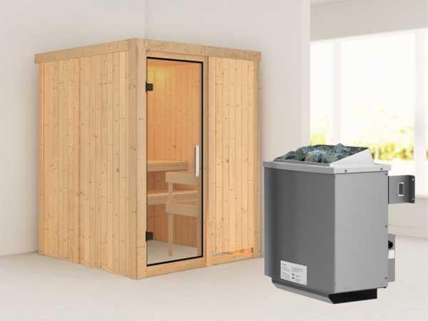 """Sauna Systemsauna """"Norin"""" Klarglas Ganzglastür + 9 kW Saunaofen mit Steuerung"""