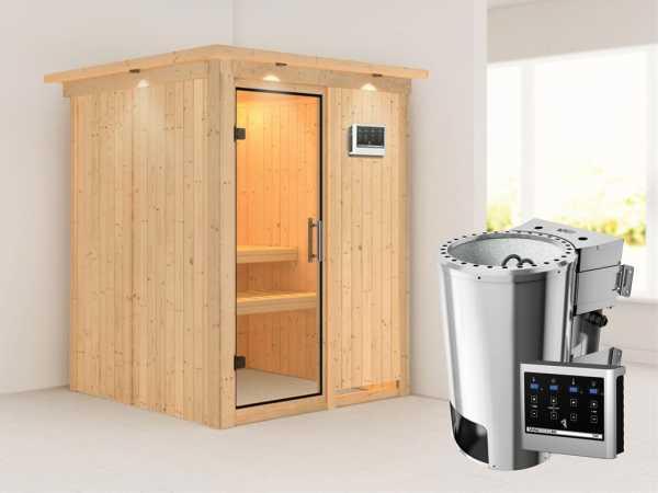 Sauna Systemsauna Minja mit Dachkranz, Klarglas Ganzglastür + Plug & Play Bio-Ofen mit ext. Strg