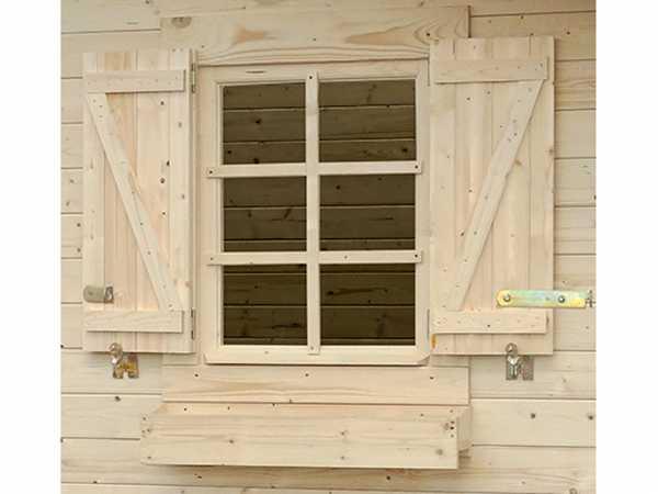 Gartenhaus Fensterladen Blumenkasten Set für Einzelfenster Prunes 7, 9, 10, 12 + Pommier 10, 12, 14