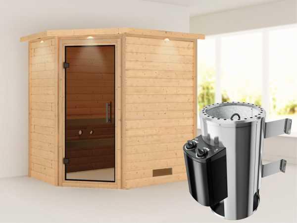 Sauna Massivholzsauna Cilja mit Dachkranz, graphit Ganzglastür + Plug & Play Ofen mit Steuerung
