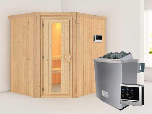 """Systemsauna """"Siirin"""" Holztür mit Isolierglas, inkl. 9 kW Saunaofen ext. Steuerung"""
