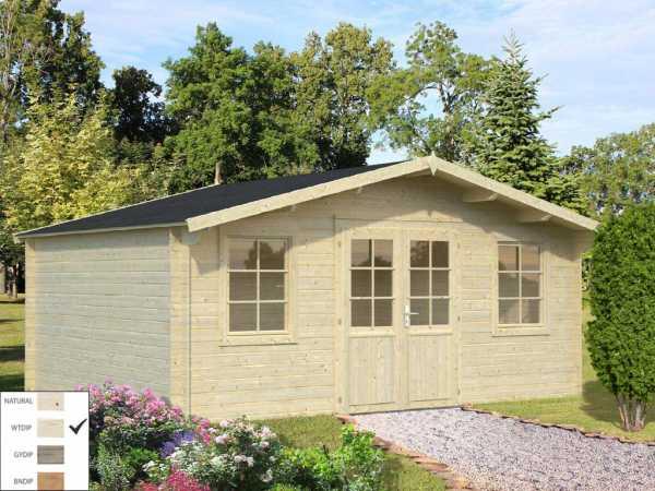 Gartenhaus Blockbohlenhaus Klara 17,0 m² 28 mm transparent tauchimprägniert
