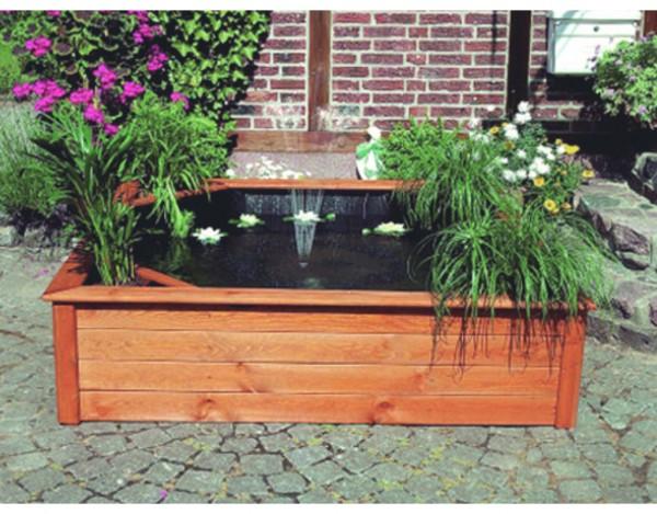 hochteich mit 4 seitlichen pflanzzonen honigbraun gartenbrunnen brunnen garten holzprofi24. Black Bedroom Furniture Sets. Home Design Ideas