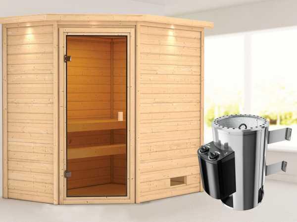 Sauna Jella mit bronzierter Glastür und Dachkranz + 3,6 kW Plug & Play Saunaofen integr. Strg.