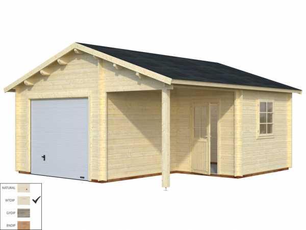 Garage Roger 21,9+5,2 m² mit Sektionaltor 44 mm transparent tauchimprägniert