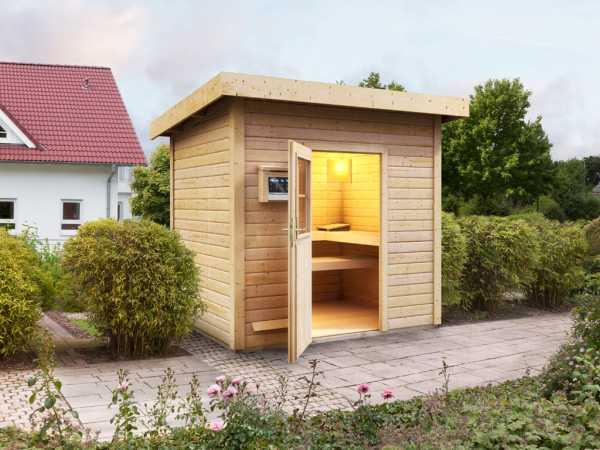 Saunahaus Nella mit Holztür, inkl. 9 kW Bio-Kombiofen mit externer Steuerung