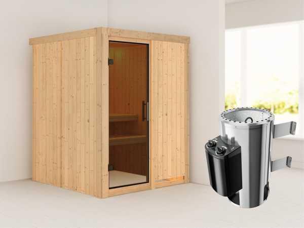 Sauna Systemsauna Minja graphit Ganzglastür + Plug & Play Saunaofen mit Steuerung