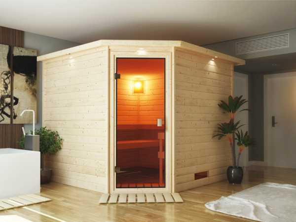 Sauna Massivholzsauna SPARSET Lina inkl. 9 kW Bio-Ofen mit ext. Steuerung + Zubehör