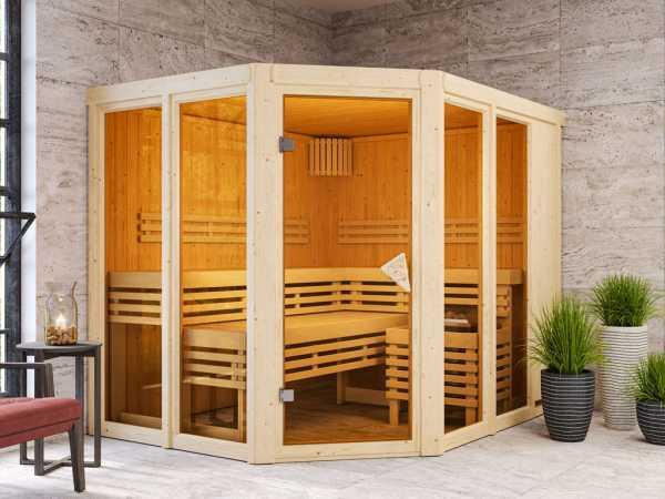 Sauna Systemsauna SPARSET Nuri inkl. 9 kW Bio-Ofen mit ext. Steuerung