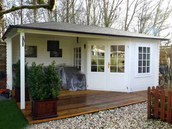 Gartenhaus Blockbohlenhaus 3055 Z, 40 mm weiß