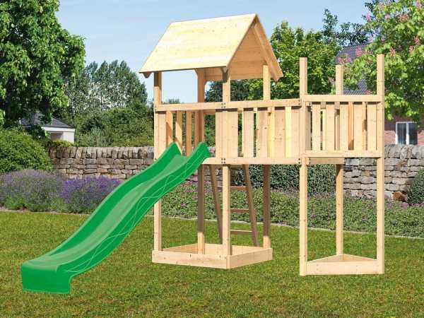 Spielturm SET Lotti naturbelassen inkl. Rutsche grün + Anbauplattform + Schiffsanbau oben