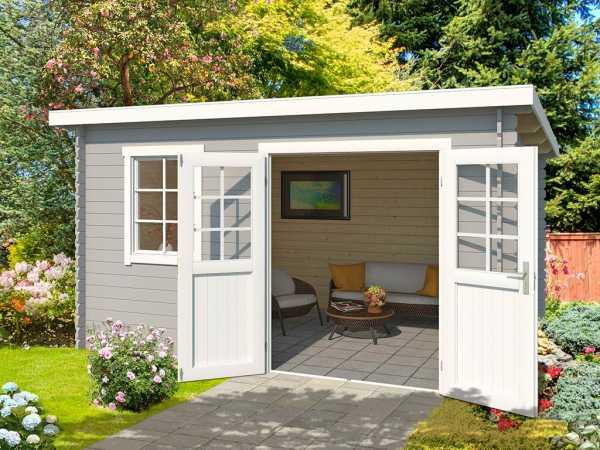 Gartenhaus Blockbohlenhaus Adlina 40 mm lichtgrau