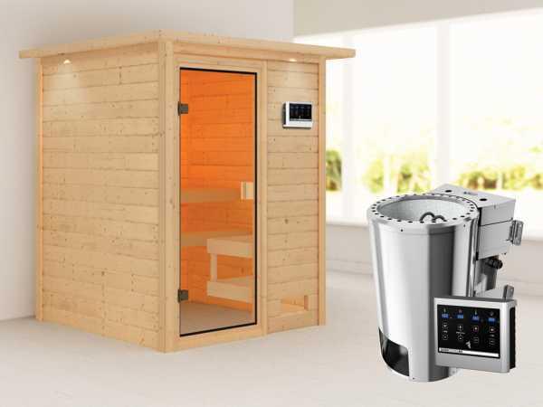 Sauna Sandra mit bronzierter Glastür und Dachkranz + 3,6 kW Plug & Play Bio-Ofen ext. Strg.