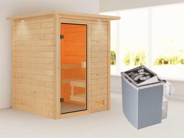 """Sauna """"Sandra"""" mit bronzierter Glastür und Dachkranz + 9 kW Saunaofen integr. Strg."""