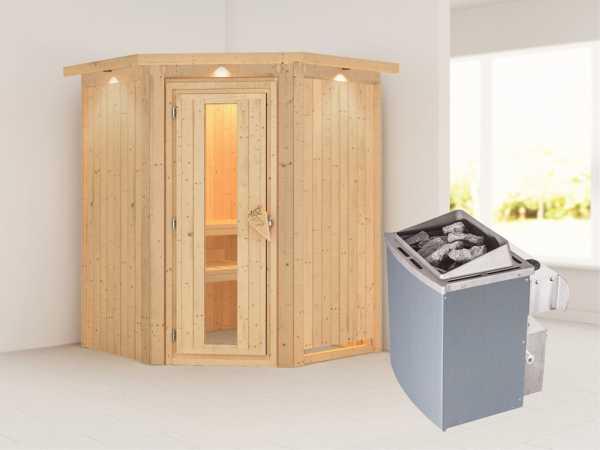 """Systemsauna """"Larin"""" mit Dachkranz, Holztür mit Isolierglas, inkl. 9 kW Saunaofen integr. Steuerung"""