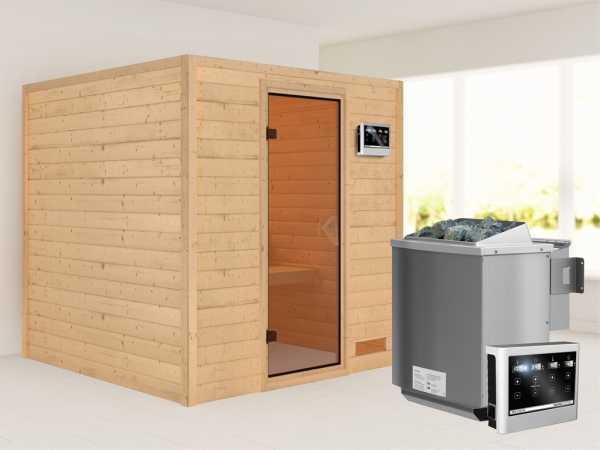 """Sauna Massivholzsauna """"Nora"""" bronzierte Ganzglastür + 9 kW Bio-Kombiofen mit ext. Strg"""