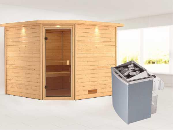 Sauna Massivholzsauna Leona mit Dachkranz, bronzierte Ganzglastür + 9 kW Saunaofen mit Steuerung