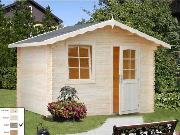 Gartenhaus Blockbohlenhaus Emma 4,6 m² 28 mm grau tauchimprägniert