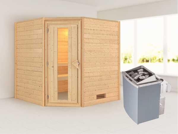 Sauna Massivholzsauna Nina Energiespartür + 9 kW Saunaofen mit Steuerung