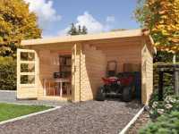 Gartenhaus BBH SET Bastrup 2 28 mm naturbelassen, inkl. 2,0 m Anbaudach + Seiten- und Rückwand
