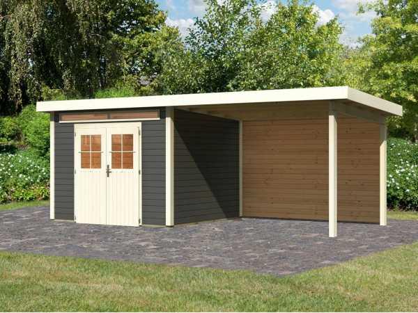 Gartenhaus SET Kerpen 3 28 mm terragrau, inkl. 3,2 m Anbaudach + Rückwand