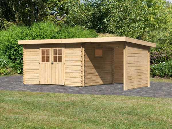 Gartenhaus BBH SET Torgau 4 40 mm naturbelassen, inkl. 2,3 m Anbaudach + Seiten- und Rückwand