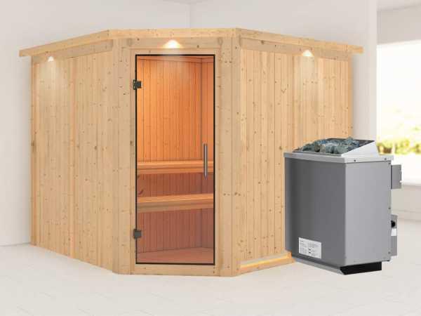 """Sauna Systemsauna """"Farin"""" mit Dachkranz, Klarglas Ganzglastür + 9 kW Saunaofen mit Steuerung"""