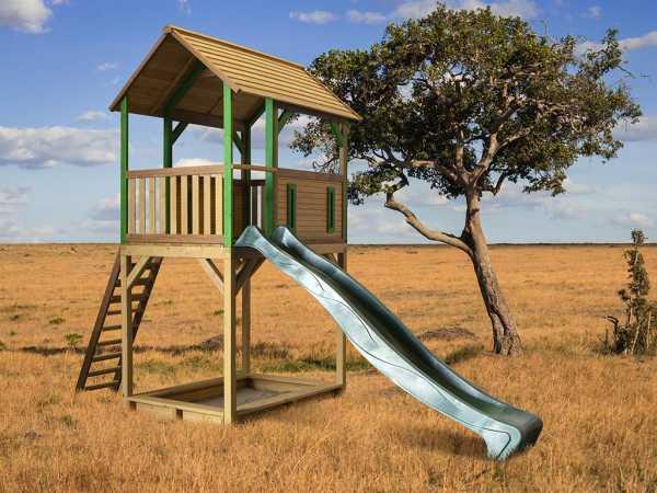Spielturm Dory braun/grün mit grüner Rutsche