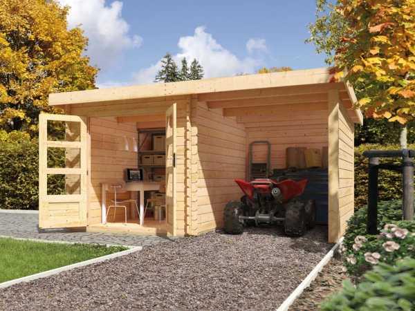 Gartenhaus Blockbohlenhaus SET Bastrup 2 28 mm naturbelassen, inkl. 2 m Anbaudach + Seiten-/Rückwand