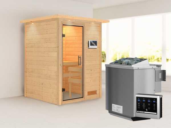 "Sauna Massivholzsauna ""Svenja"" mit Dachkranz, Klarglas Ganzglastür + 9 kW Bio-Kombiofen mit ext. Str"
