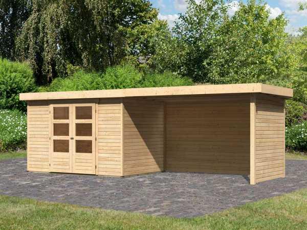 Gartenhaus SET Askola 4 19 mm naturbelassen, inkl. 2,8 m Anbaudach + Seiten- und Rückwand