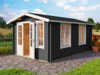 Gartenhaus Blockbohlenhaus Alexandra 44 mm carbongrau