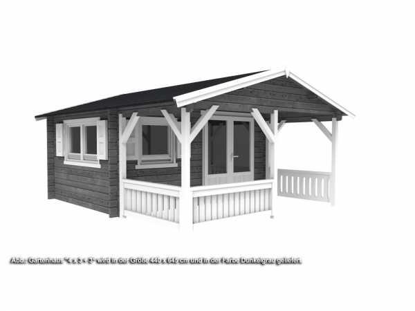 Gartenhaus Blockbohlenhaus 4 x 3 + 3 50 mm dunkelgrau