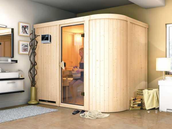 Sauna Systemsauna Titania 4 inkl. 9 kW Bio-Kombiofen ext. Steuerung