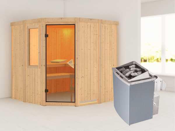 Sauna Systemsauna Simara 1 mit Fenster, inkl. 9 kW Saunaofen integr. Steuerung