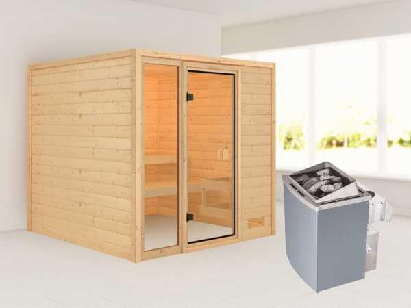 """Sauna """"Jutta"""" mit bronzierter Glastür + 9 kW Saunaofen integr. Strg."""