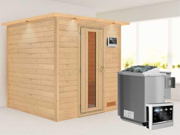"""Sauna Massivholzsauna """"Nora"""" mit Dachkranz, Energiespartür + 9 kW Bio-Kombiofen mit ext. Strg"""