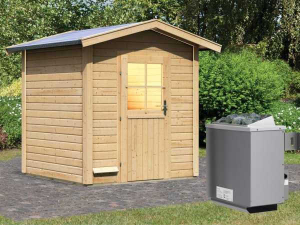 """Saunahaus """"Laina"""" mit Holztür, inkl. 9 kW Saunaofen mit integrierter Steuerung"""